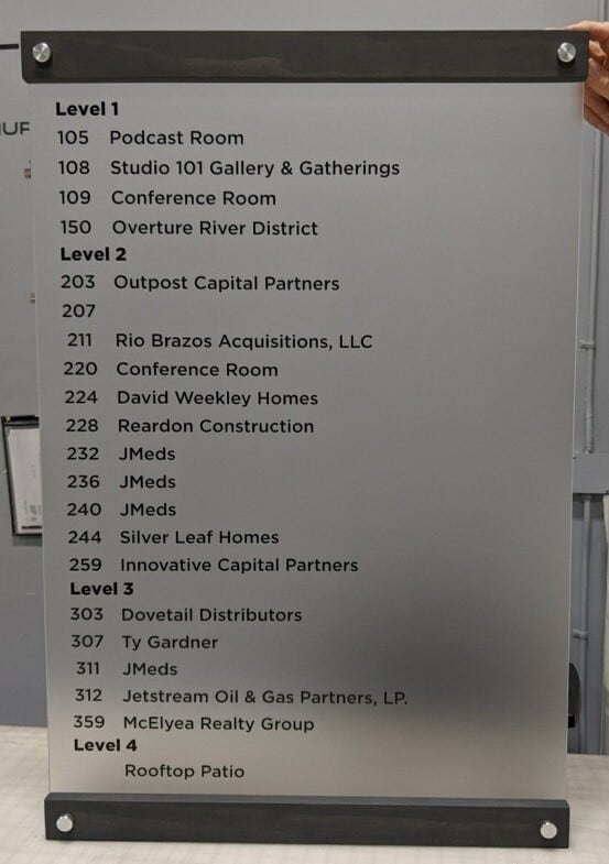 Property Management Signs Cowtown Frosted Directory Sign