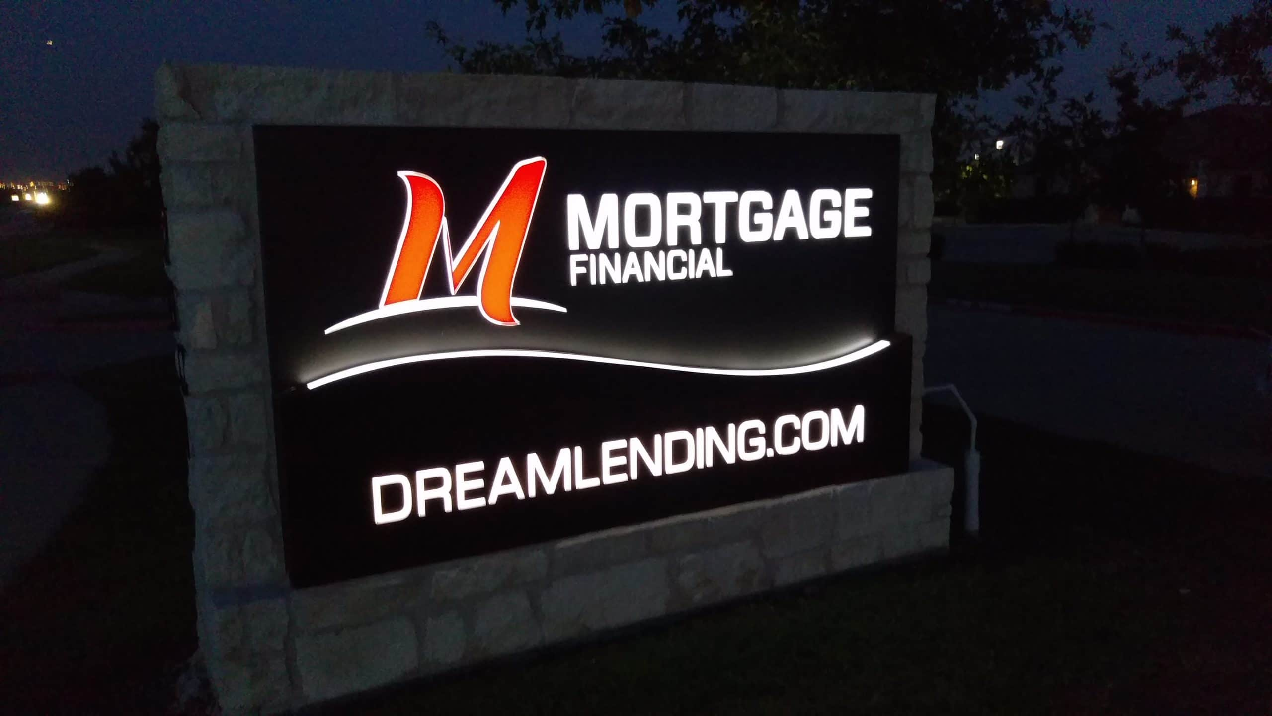 Mortgage Financial Night Shot 1 scaled | Monument Signs