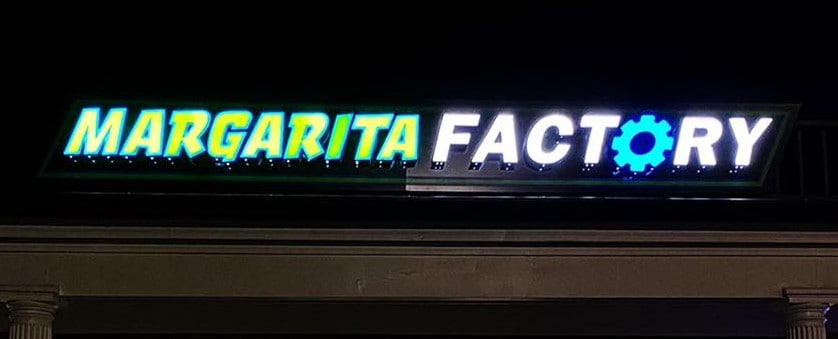 Night Lit Margarita Factory Channel Letters | Restaurant and Retail Signage