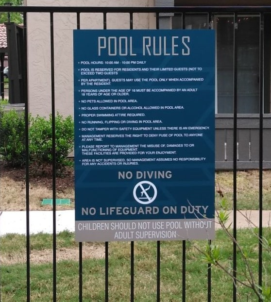 Pool Rules | Multifamily Housing Signs