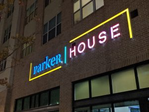 Parker House at night   Home